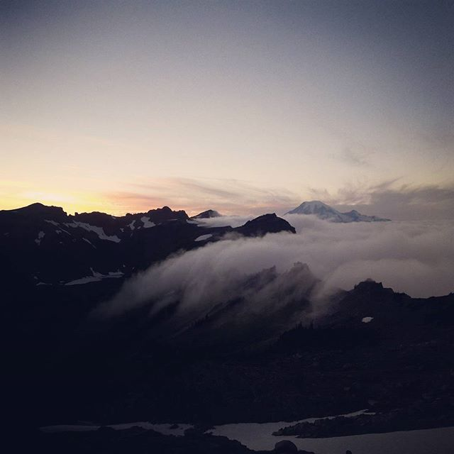 #Clouds coming in over the sunrise in the goat rocks #pct #pacificcresttrail #washington #goatrocks
