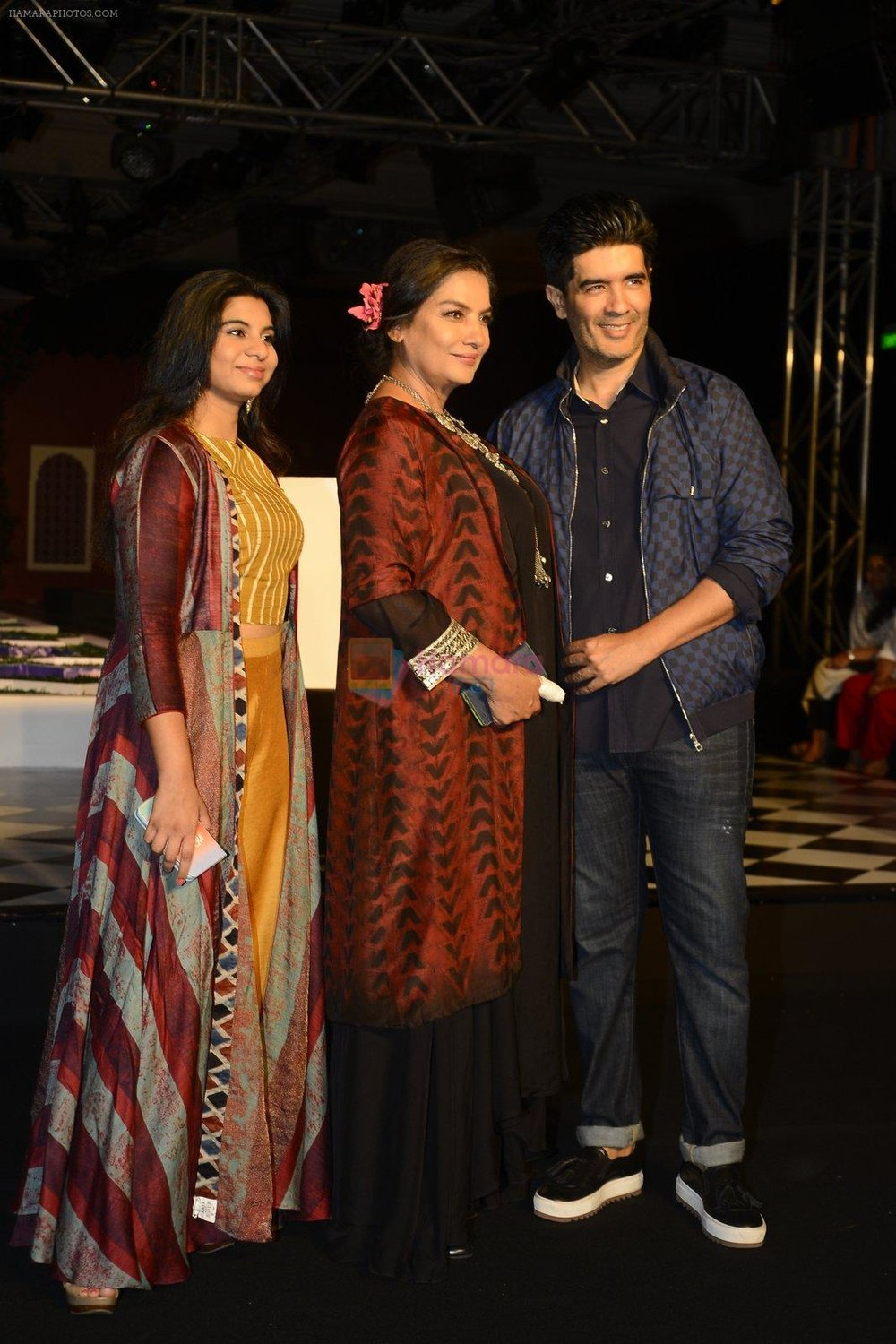 Shabana Azmi, Manish Malhotra walk the ramp for Anita Dongre show at the FDCI India Couture Week 2016 on 21st July 2016 shown to user