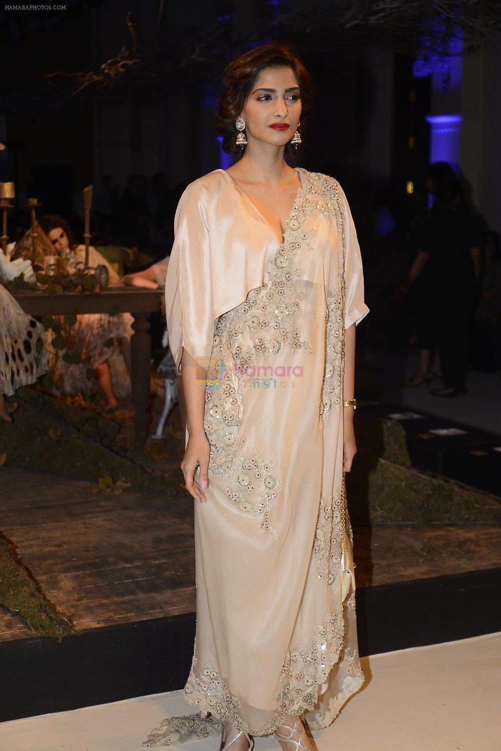 Sonam Kapoor during Anamika Khanna showcase When Time Stood Still at the FDCI India Couture Week 2016 on 22 July 2016 shown to user