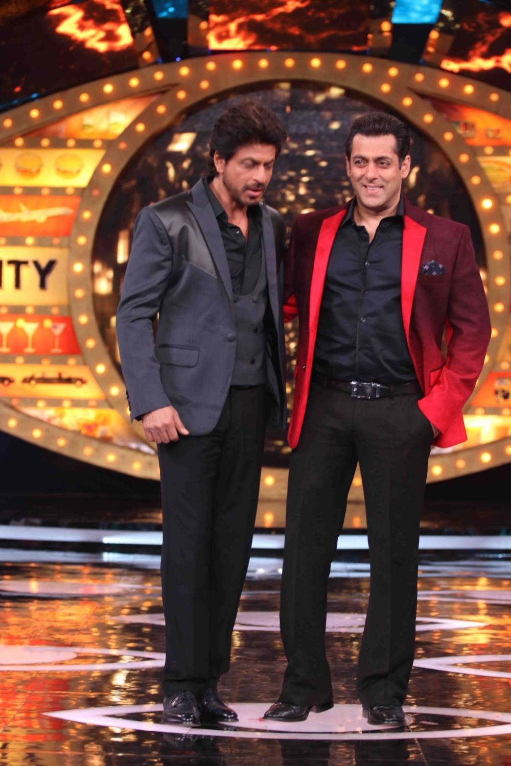 Mumbai: Actors Shah Rukh Khan with Salman Khan on the sets of Bigg Boss season 10 during the promotion of film Raees in Mumbai on Jan 20, 2017. (Photo: (IANS)