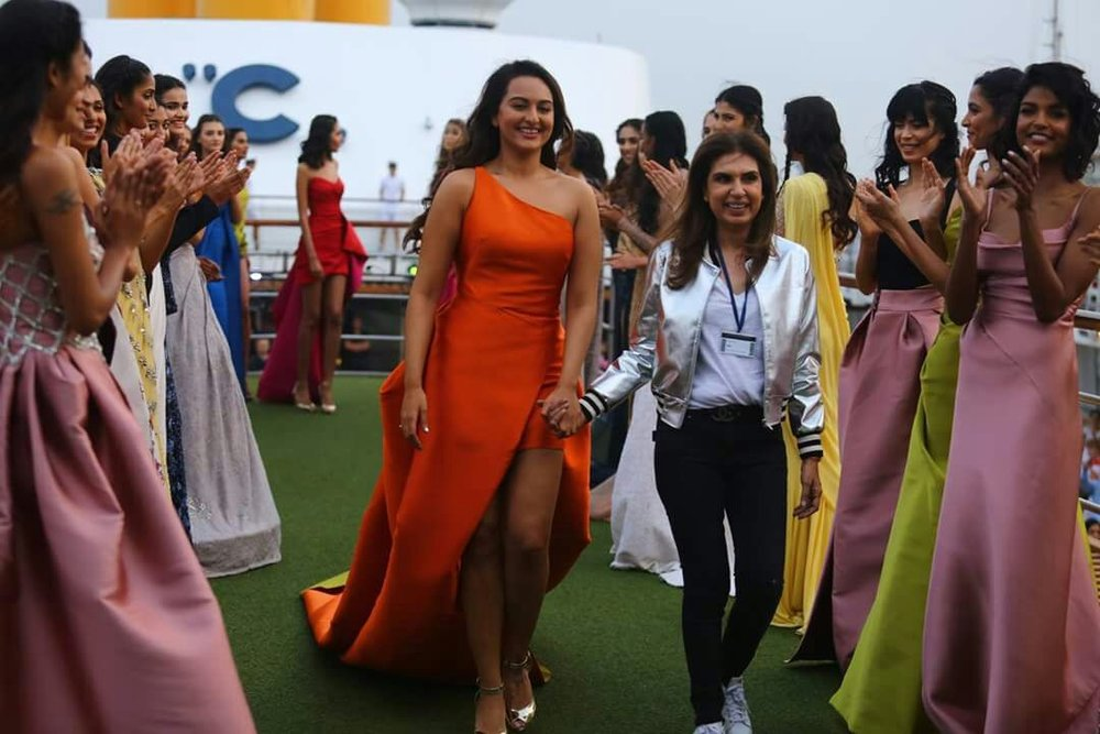 Mumbai: Actress Sonakshi Sinha displays the creation of fashion designer Monisha Jaising during opening show of Lakme Fashion Week Summer/Resort 2017 in Mumbai on Jan 20, 2017. (Photo: (IANS)