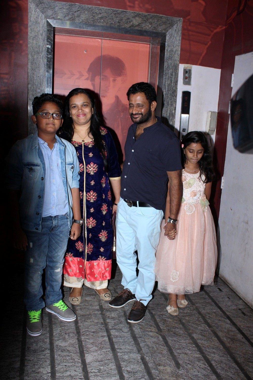 Mumbai: Rasool Pookutty with his family during special sreening of film Kaabil in Mumbai on Jan 22, 2017. (Photo: (IANS)