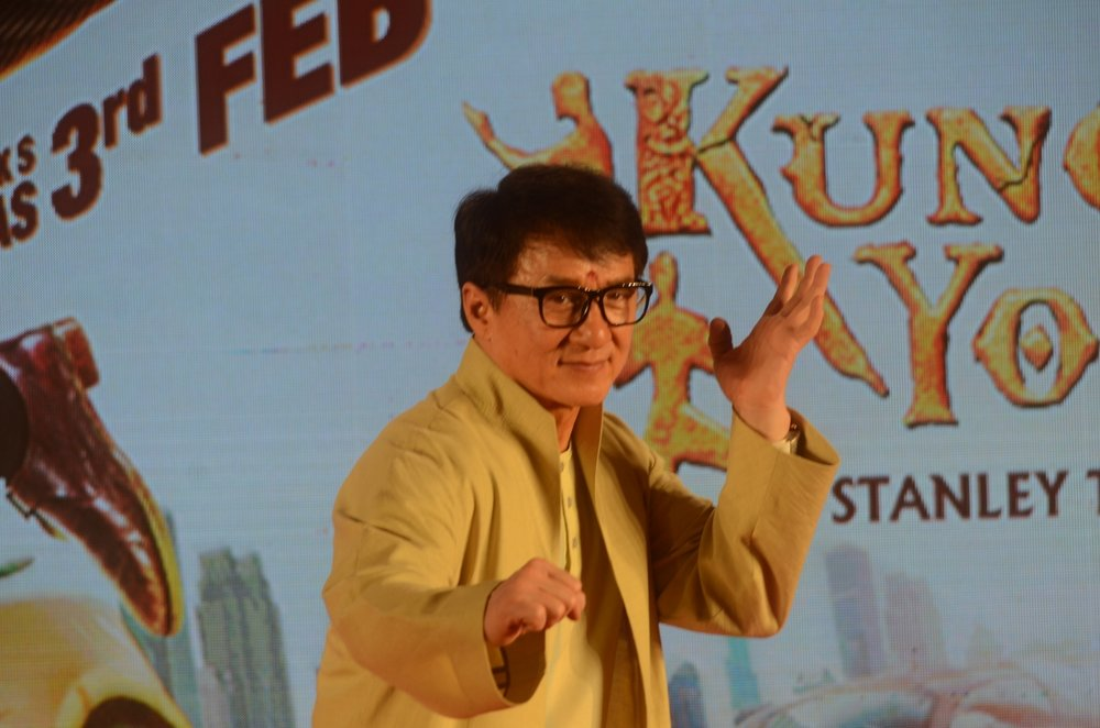 "Mumbai: Actor Jackie Chan during promotions of his upcoming film ""Kung Fu Yoga"" in Mumbai, on Jan 23, 2017. (Photo: IANS)"