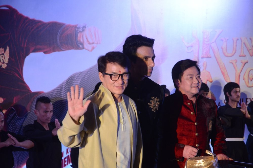 "Mumbai: Actors Jackie Chan and Sonu Sood during promotions of his upcoming film ""Kung Fu Yoga"" in Mumbai, on Jan 23, 2017. (Photo: IANS)"