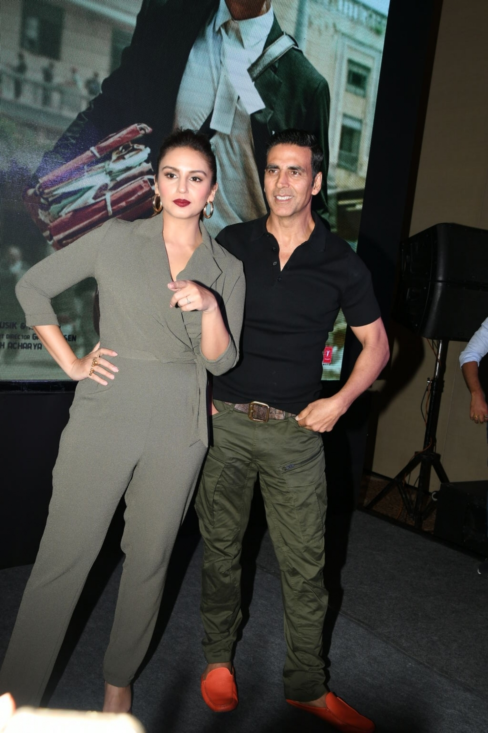 "Hyderabad: Actors Akshay Kumar and Huma Qureshi during the press meet and promotion of their film ""Jolly LLB 2"" in Hyderabad, on Jan 28, 2017. (Photo: IANS)"