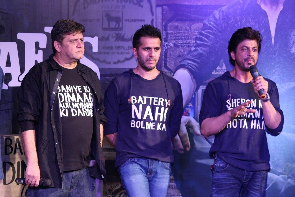 Mumbai: Filmmakers Rahul Dholakia, Ritesh Sidhwani and actor Shahrukh Khan during the success party of film Raees in Mumbai on Jan 30, 2017. (Photo: IANS)
