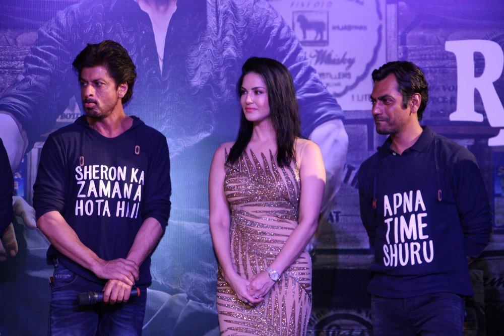 Mumbai: Actors Shahrukh Khan, Sunny Leone and Nawazuddin Siddiqui during the success party of film Raees in Mumbai on Jan 30, 2017. (Photo: IANS)