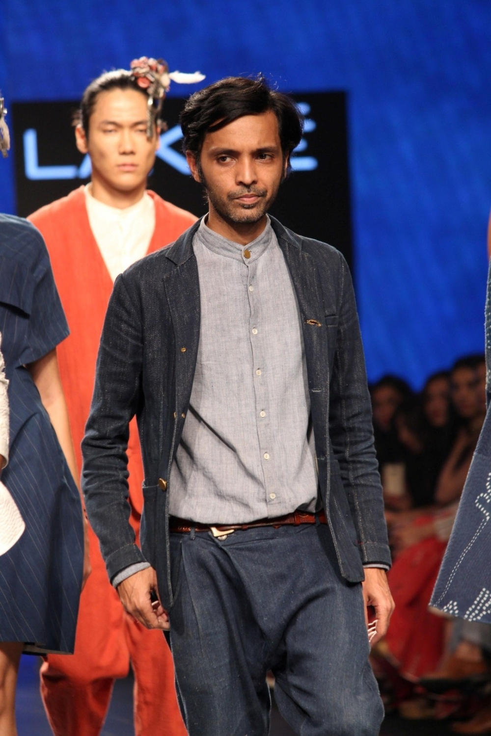 Mumbai: A model displays the creation of fashion designers Ishanee Mukherjee and Anirudh Chawla during the Lakme Fashion Week Summer/Resort 2017 in Mumbai on Feb 1, 2017. (Photo: (IANS)