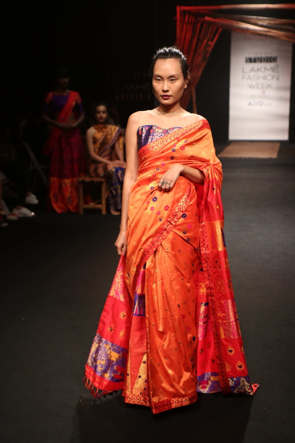 Mumbai: A model displays the creation of fashion designer Sanjukta Dutta during the Lakme Fashion Week Summer/Resort 2017, in Mumbai, on Feb 2, 2017. (Photo: IANS)
