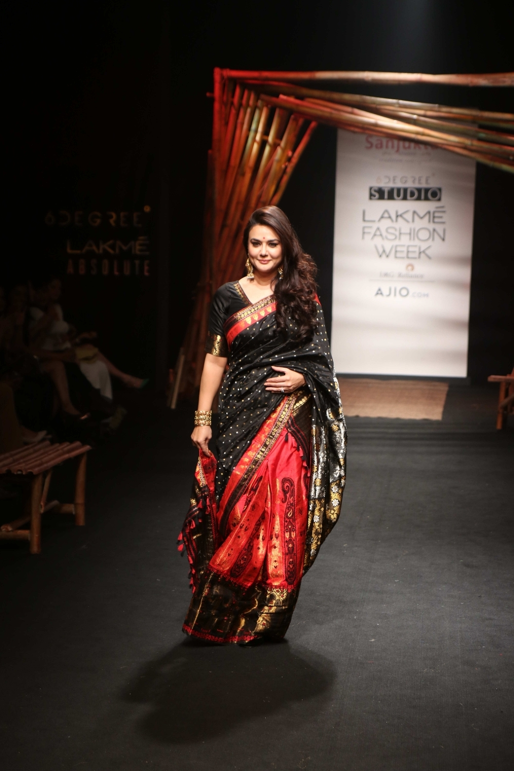 Mumbai: Actress Preity Zinta displays the creation of fashion designer Sanjukta Dutta during the Lakme Fashion Week Summer/Resort 2017, in Mumbai, on Feb 2, 2017. (Photo: IANS)