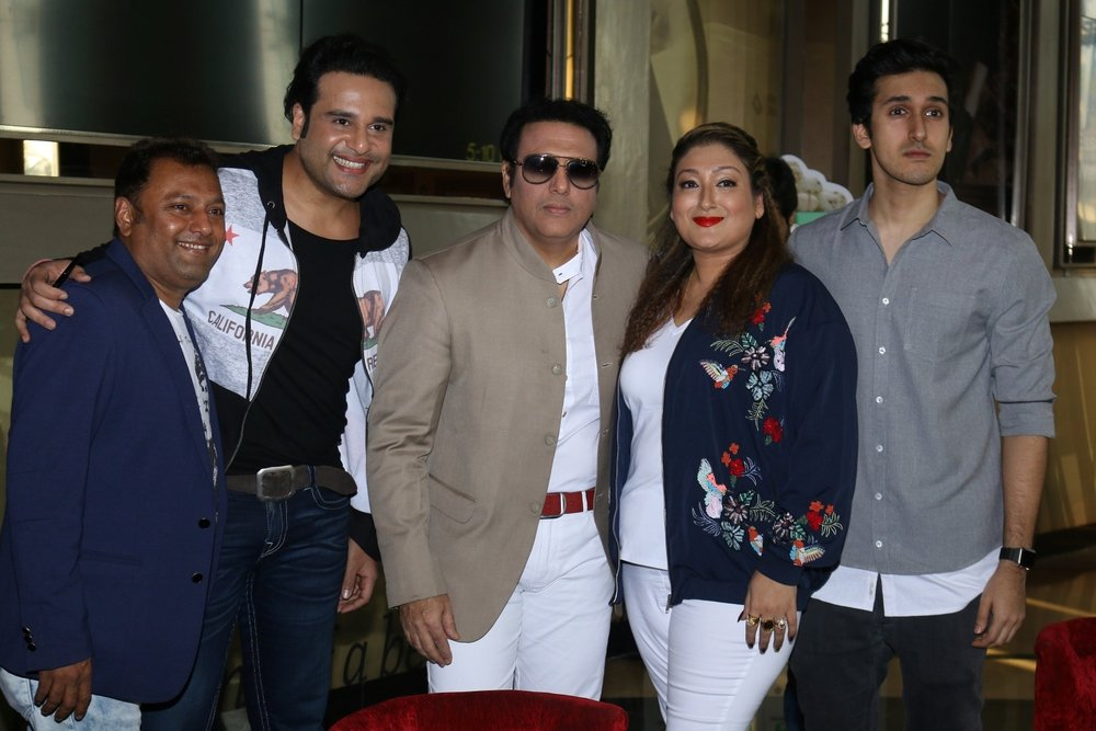 Mumbai:  Actor Govinda with his wife Sunita Ahuja, son Yashvardan Ahuja and actor Krishna Abhishek during the trailer launch of film Aa Gaya Hero in Mumbai on Feb 1, 2017. (Photo: IANS)