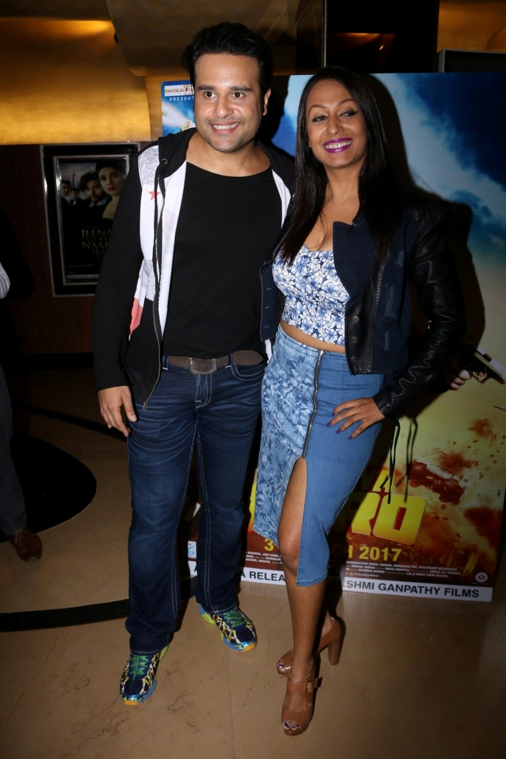 Mumbai:  Actors Krishna Abhishek and Kashmira Shah during the trailer launch of film Aa Gaya Hero in Mumbai on Feb 1, 2017. (Photo: IANS)