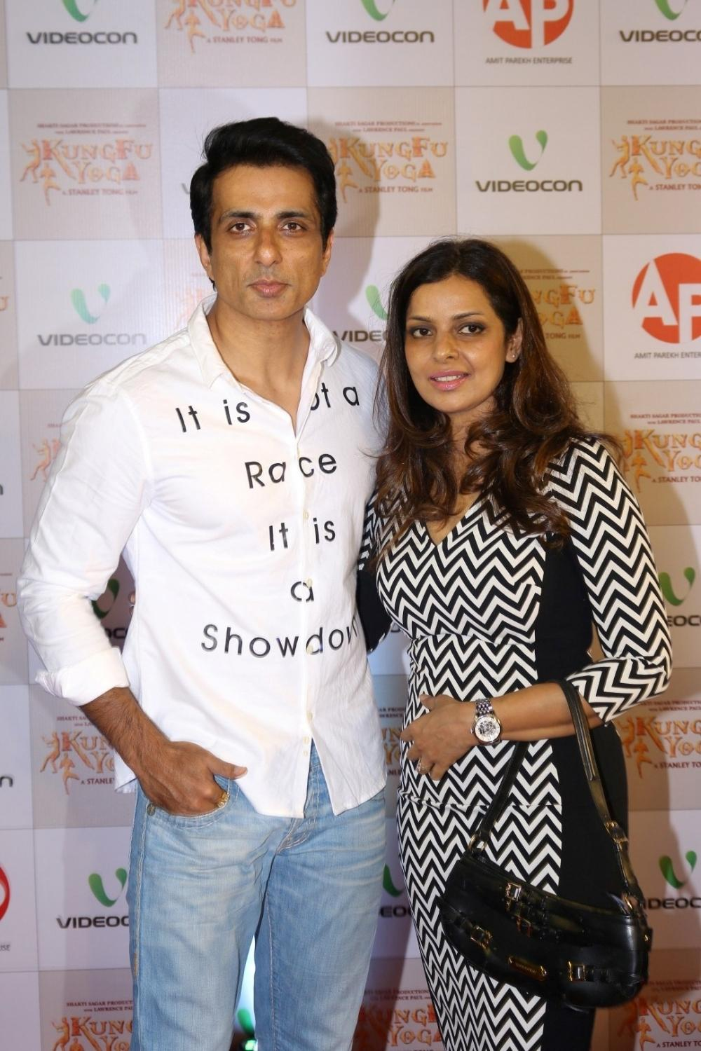 Mumbai: Actor Sonu Sood along with his wife Sonali Sood during the screening of film Kung Fu Yoga in Mumbai on Feb 2, 2017. (Photo: IANS)