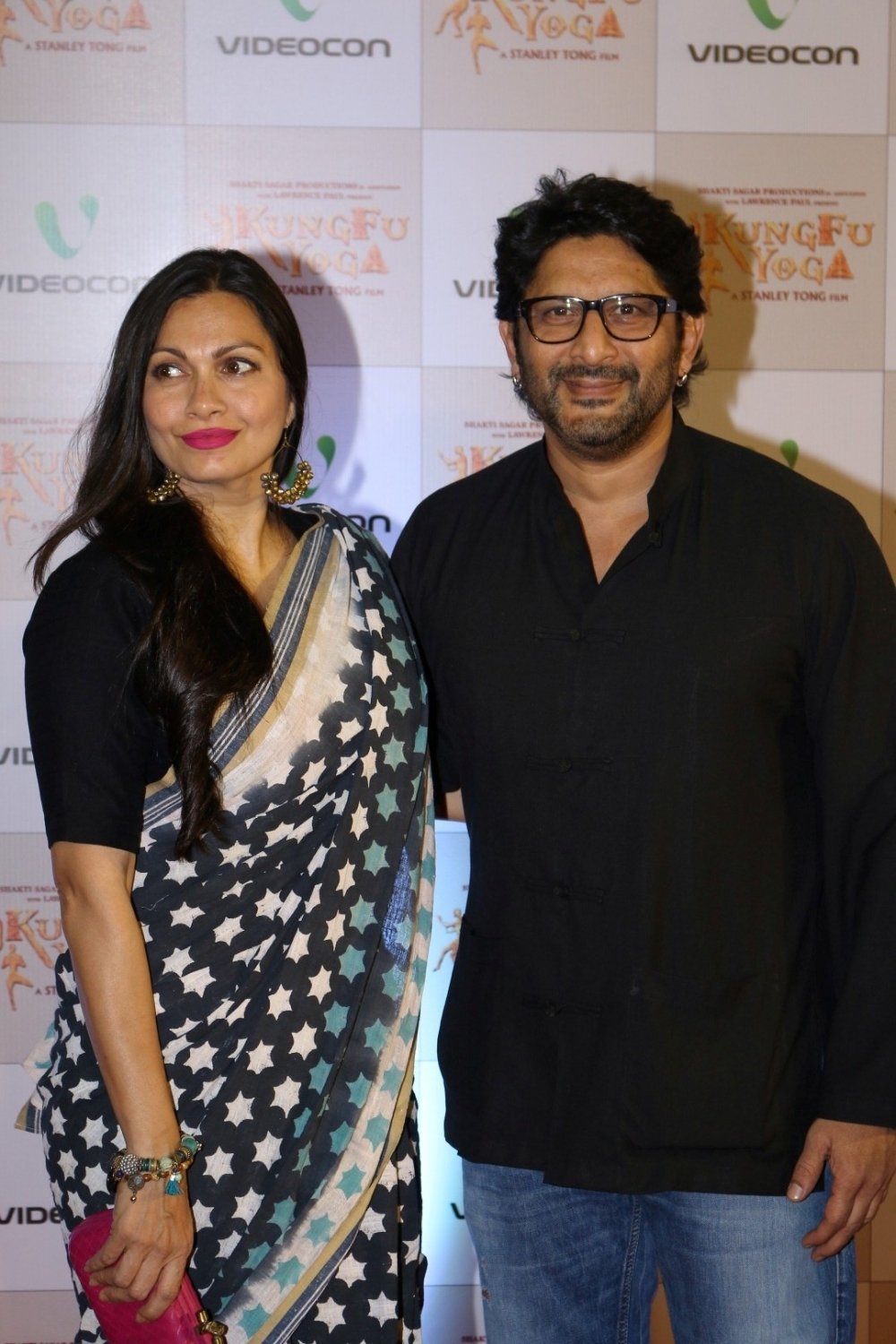 Mumbai: Actor Arshad Warsi along with his wife and actress Maria Goretti during the screening of film Kung Fu Yoga in Mumbai on Feb 2, 2017. (Photo: IANS)