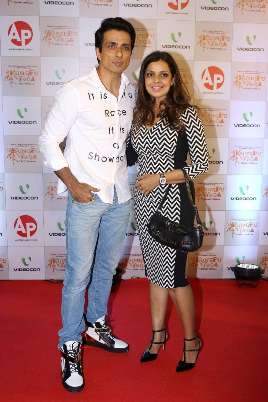 Mumbai: Actor Sonu Sood along with his wife Sonali Sood during the screening of film Kung Fu Yoga in Mumbai on Feb 2, 2017. (Photo: IANS)