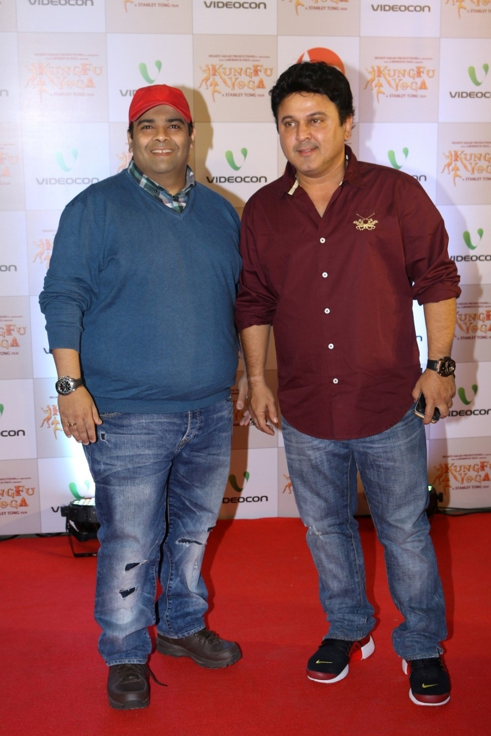 Mumbai: Actors Kiku Sharda  and Ali Asgar during the screening of film Kung Fu Yoga in Mumbai on Feb 2, 2017. (Photo: IANS)