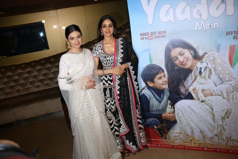 Mumbai: Actress Sridevi and filmmaker Divya Khosla Kumar during the launch of video song Kabhi Yaadon Mein in Mumbai, on Feb 2, 2017. (Photo: IANS)