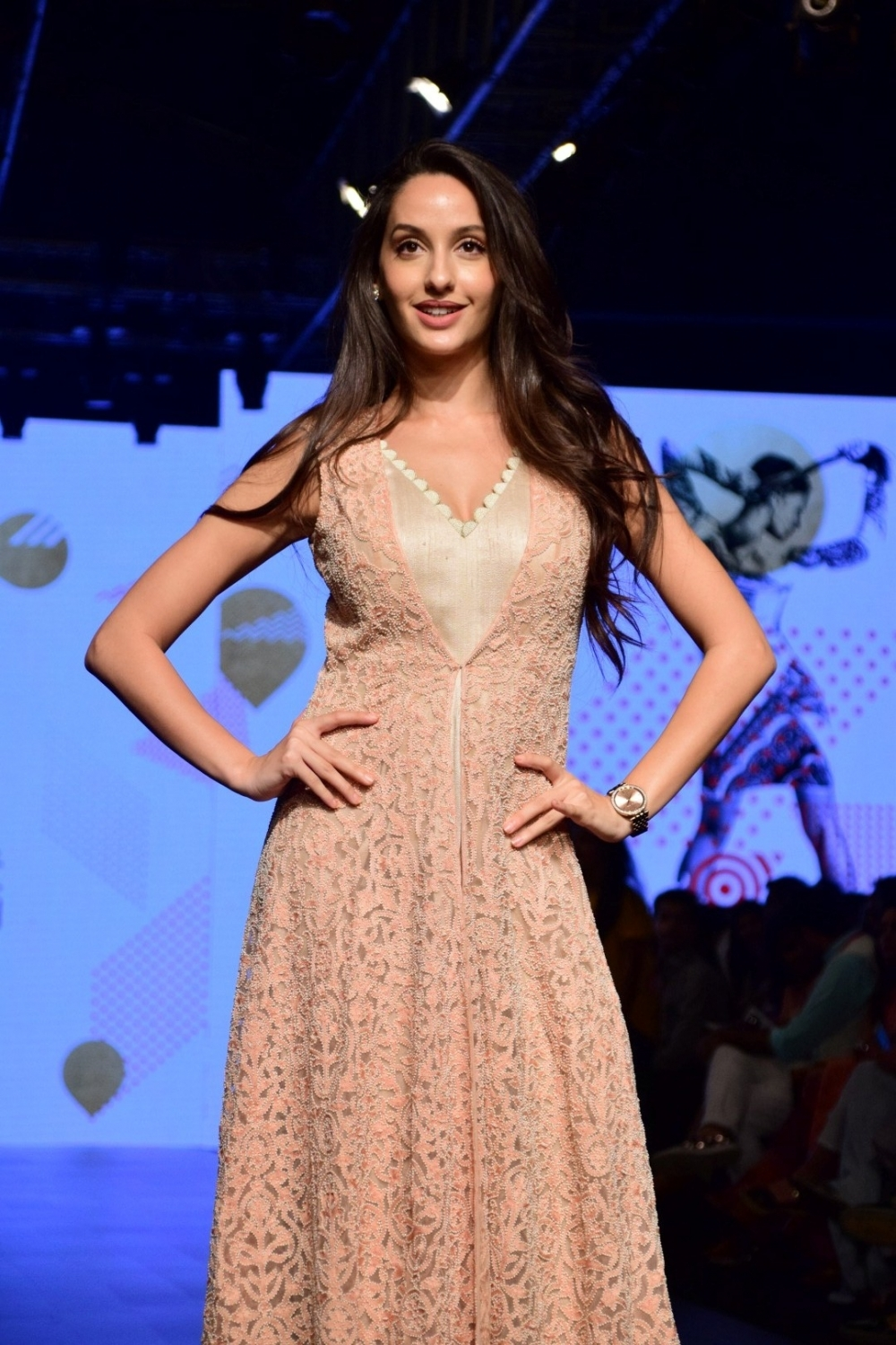 Mumbai: Model Nora Fatehi during the Lakme Fashion Week Summer/Resort 2017, in Mumbai, on Feb 3, 2017. (Photo: IANS)