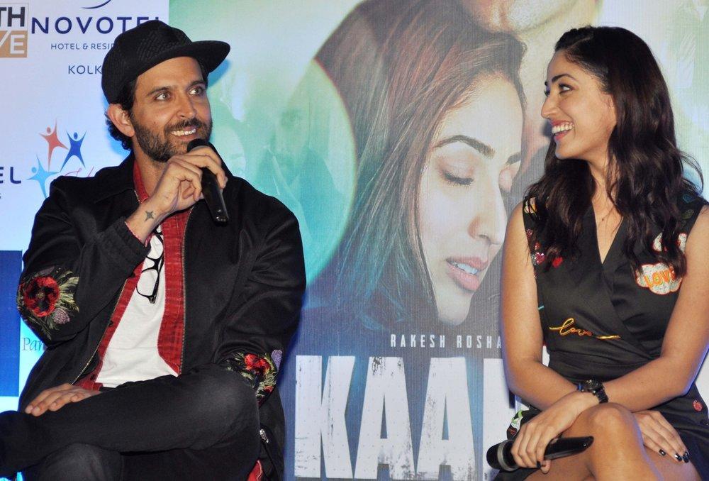 Kolkata: Actors Hrithik Roshan and Yami Gautam during a press conference to promote their film 'Kaabil' in Kolkata on Feb 3, 2017. (Photo: Kuntal Chakrabarty/IANS)