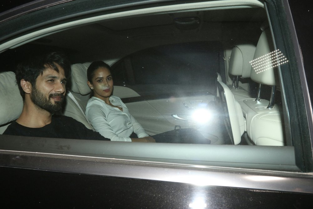 "Mumbai: Actor Shahid Kapoor along with his wife Mira Rajput during the special screening of film ""Padmaavat"" in Mumbai on Jan 25, 2018. (Photo: IANS)"