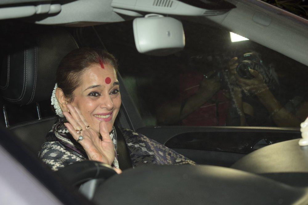"Mumbai: Actress Sonashi Sinha`s mother Poonam Sinha arrives at the special screening of film ""Padmaavat"" in Mumbai on Jan 25, 2018. (Photo: IANS)"