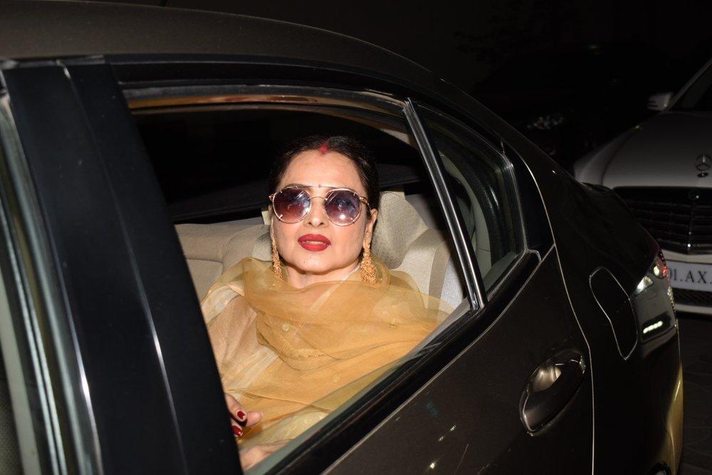"Mumbai: Actress Rekha arrives at the special screening of film ""Padmaavat"" in Mumbai on Jan 25, 2018. (Photo: IANS)"