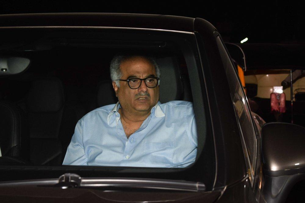 "Mumbai: Filmmaker Boney Kapoor arrives at the special screening of film ""Padmaavat"" in Mumbai on Jan 25, 2018. (Photo: IANS)"