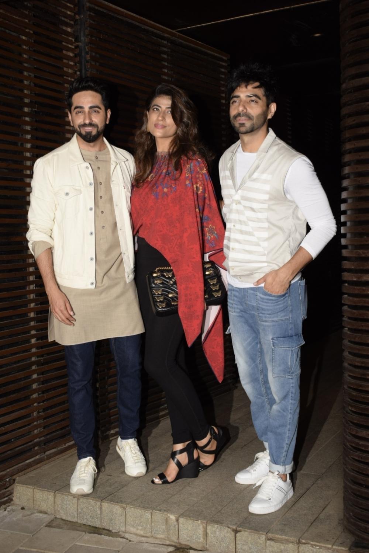 Mumbai: Actor Ayushmann Khurrana along with his wife Tahira Kashyap and brother Aparshakti Khurana at director Anand L Rai's birthday celebration in Mumbai on June 27, 2018. (Photo: IANS)
