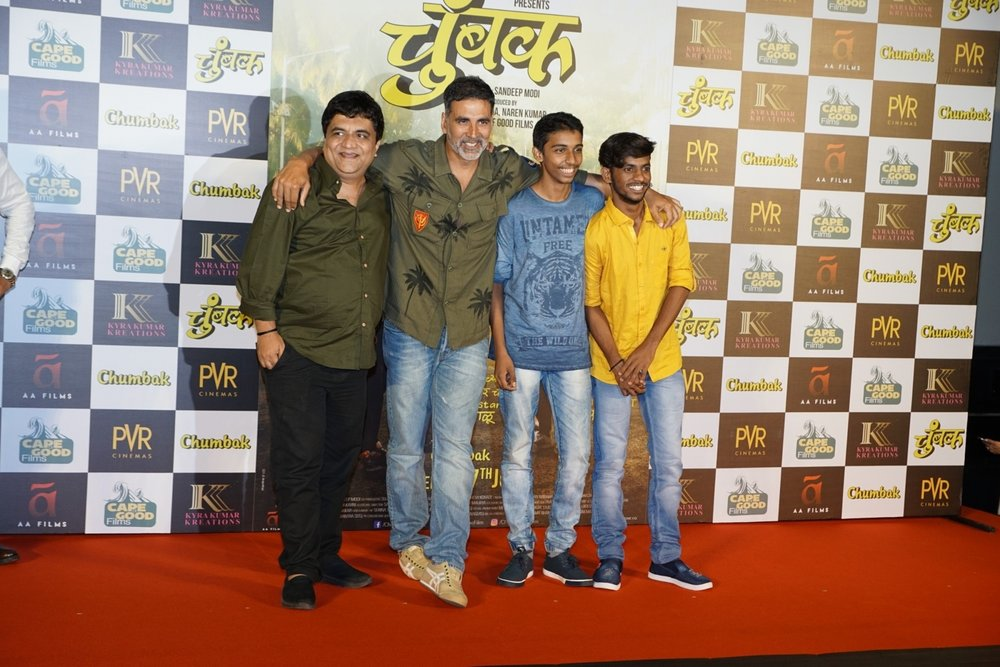 "Mumbai: Actors Swanand Kirkire and Akshay Kumar at the trailer launch of film ""Chumbak"" in Mumbai on July 5, 2018. (Photo: IANS)"
