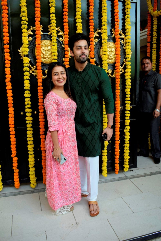 Mumbai: Singer Neha Kakkar and actor Himansh Kohli at producer Ekta Kapoor's residence for Ganpati Celebrations in Mumbai on Sept 16, 2018. (Photo: IANS)