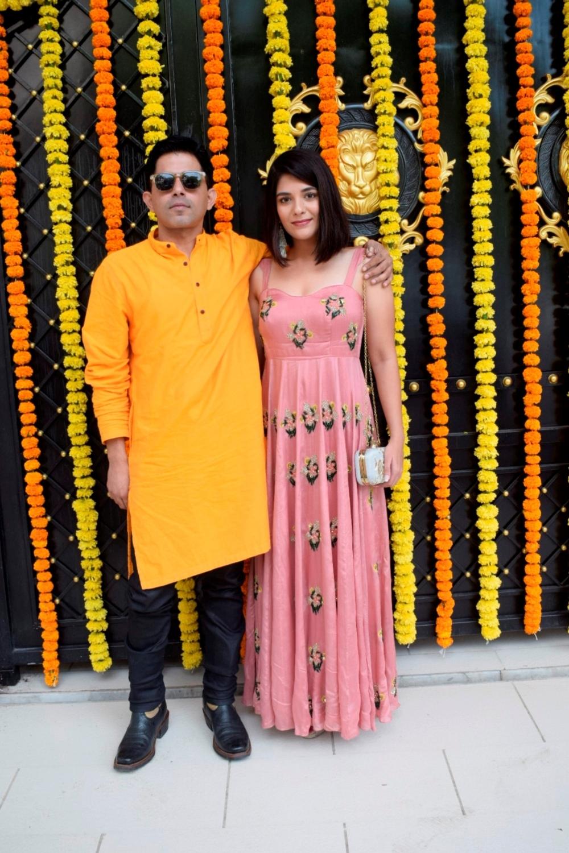 Mumbai: Actors Raj Singh Arora and Pooja Gor at producer Ekta Kapoor's residence for Ganpati Celebrations in Mumbai on Sept 16, 2018. (Photo: IANS)