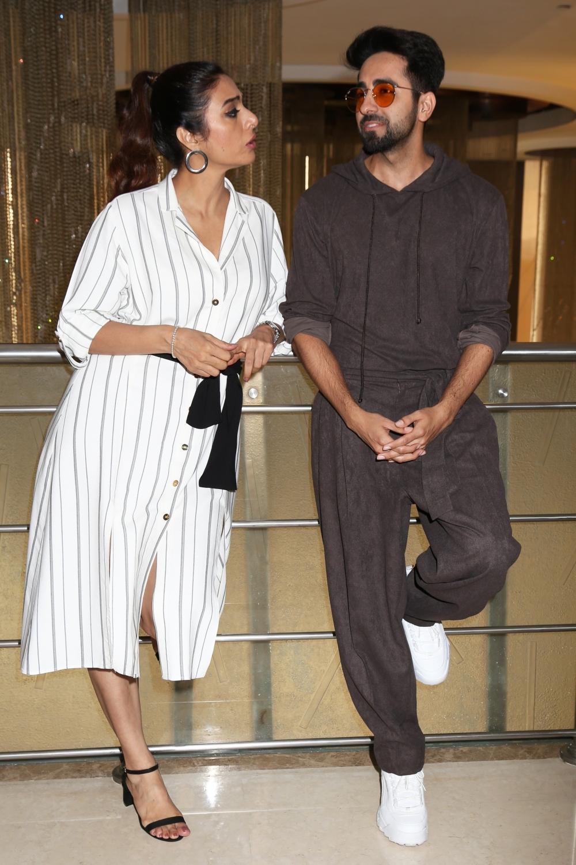 New Delhi: Actors Ayushmann Khurrana and Tabu during a press conference in New Delhi on Oct 4, 2018. (Photo: Amlan Paliwal/IANS)