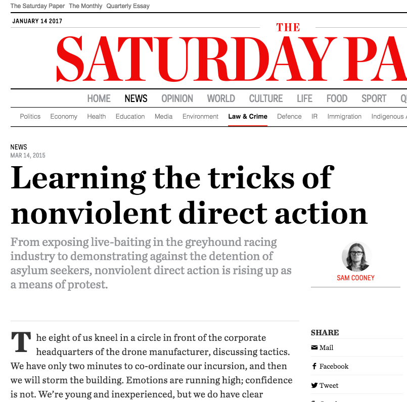 article    in  The Saturday Paper  about attending a non-violent direct action training day
