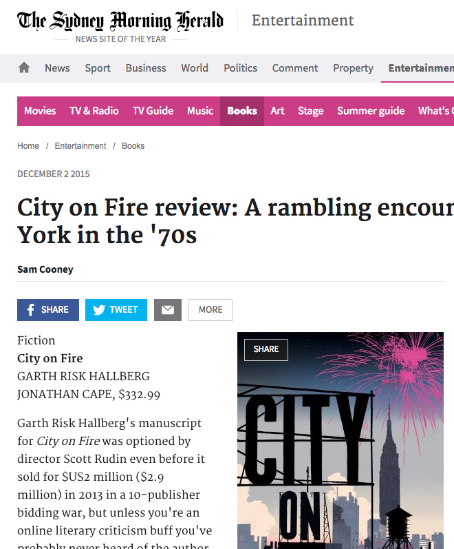 book review in the  Sydney Morning Herald  – Garth Risk Hallberg's  City on Fire