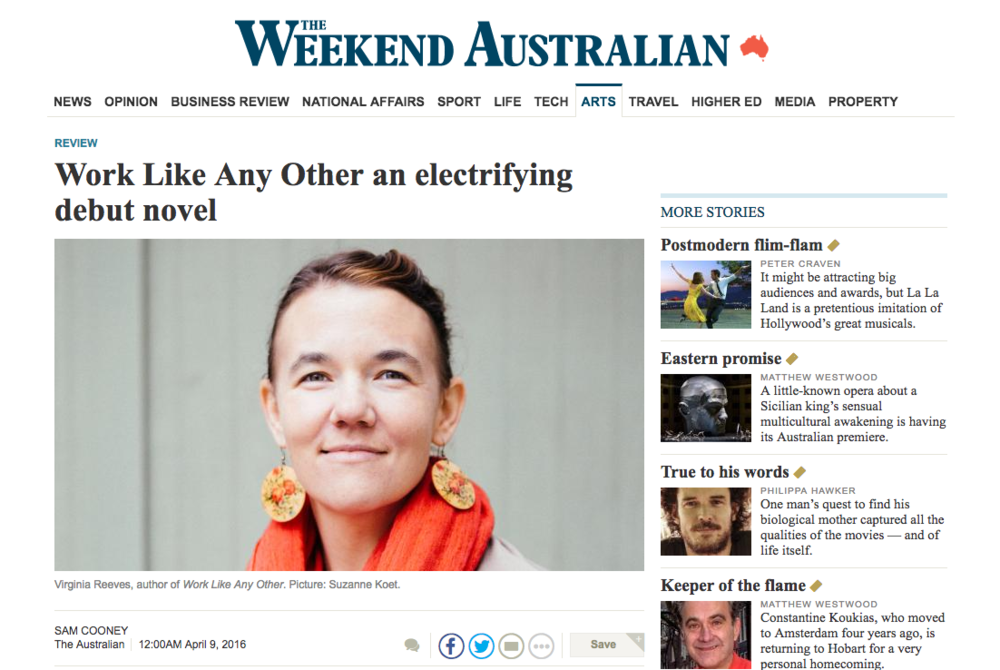 book review in the Australian – Virginia Reeves' Work Like Any Other