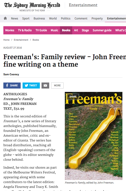 book review in the Sydney Morning Herald – the second issue of Freeman's
