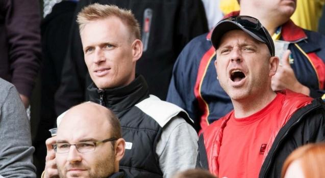 Henrik Worsøe (til højre) på Brøndby Stadion. Foto: Robert Hendel