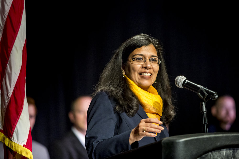 Anupma Prakash, Provost & Executive Vice Chancellor of the University of Alaska Fairbanks speaks at the Community and Technical College Police Academy graduation on Friday, October 12th, 2018.
