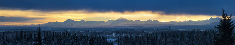 View of the Alaska Range from the University of Alaska Fairbanks.