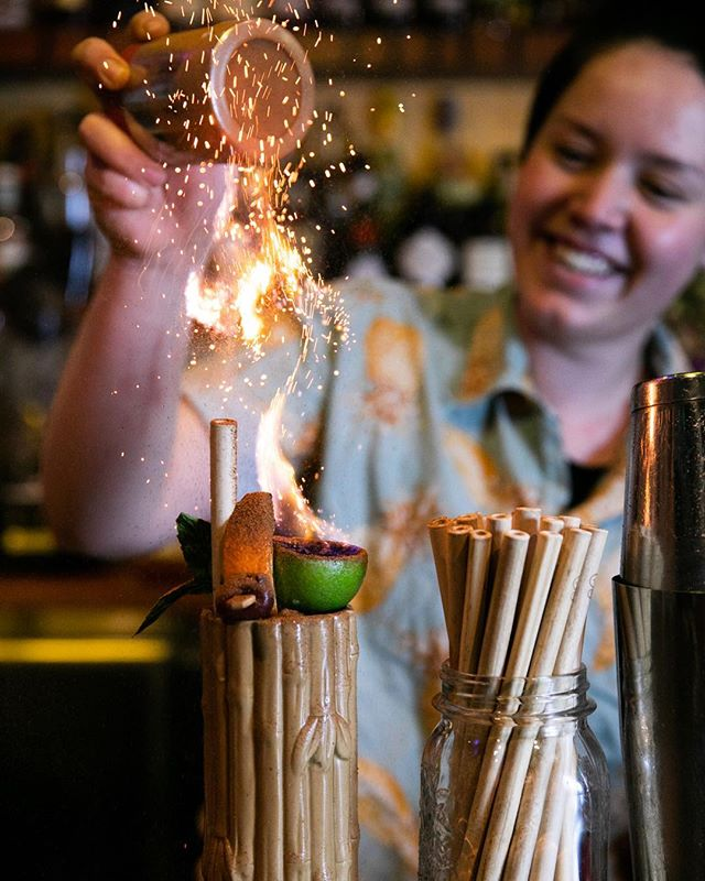 Creating flames with cinnamon 🔥 what kind of magic is this?? Shot at @jacobystikibar . . . . #tikibar #cocktail #bamboostraws #flames #flamedrink #lime #cinnamon #sprinkle #sparkle #tropicalvibes #drink #cocktails #bartender #barback #bar #nightlife #newtown #enmore #sydney #australia #hospitality #foodphotography #drinkporn #foodstyling #coolglass