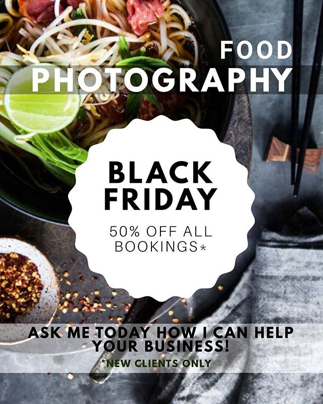 BLACK FRIDAY is here people!! Book your food photoshoot today to get 50% off.  FREE consultation. Get in touch to discuss about all the details and ask me how I can help improve your business. 📸 **only valid until Sunday** #blackfriday #foodphotography #discount #50%off #sale #foodphotoshoot #australia #sydneyfoodphotography #sydney #sydneyrestaurants #hospitality
