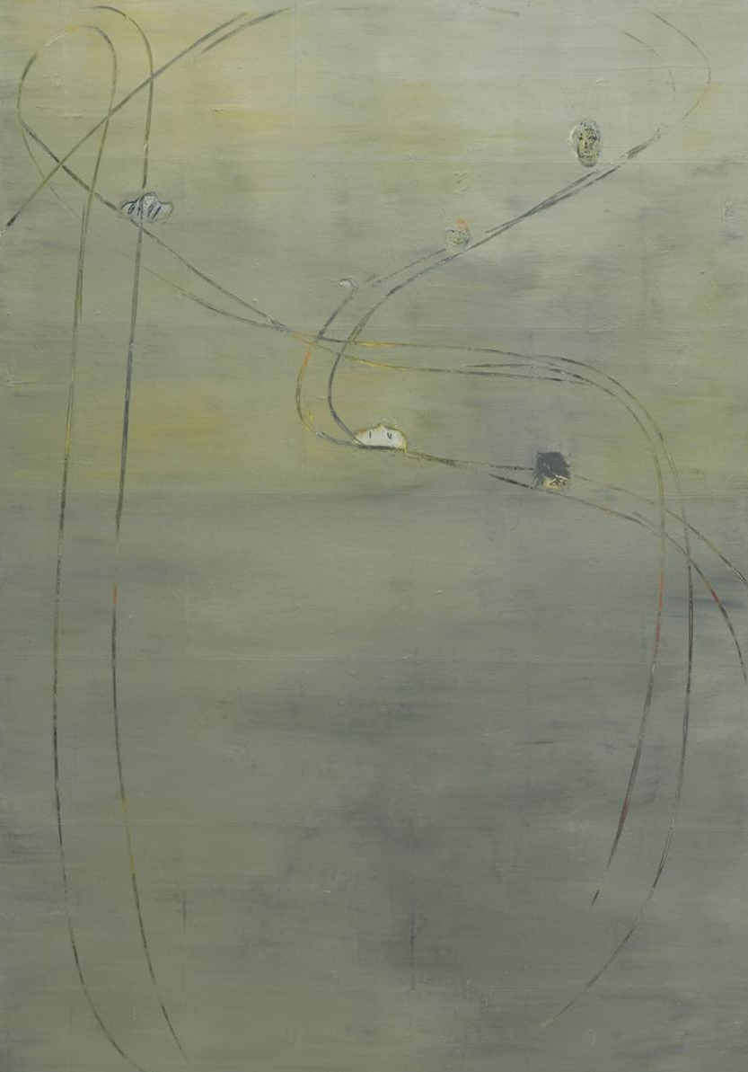 Untitled, 2014; Acrylic and crayon on paper, on canvas; 142 x 100 cm