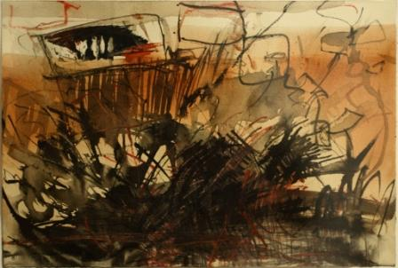 Untitled, 2011 - foreigner at home series; Acrylic, gouache, indian ink and watercolour pencil on paper; 18,9 x 27,8 cm