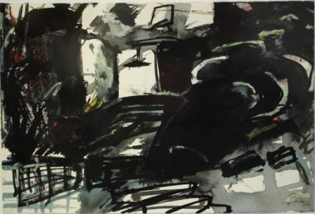 Untitled 2011 - foreigner at home series Acrylic, indian ink, watercolour pencil, neocolor crayon and oil pastel on paper; 18,9 x 28 cm