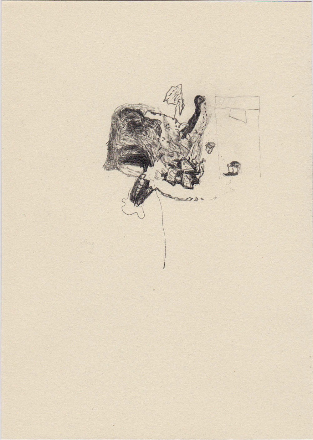 Judging machine, 2015; Pencil on paper; 20 x 14,5 cm