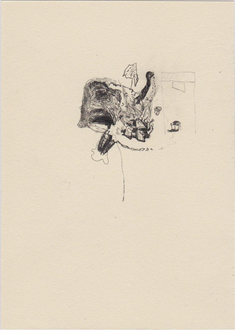 Judging machine, 2015; Pencil on paper; 20 x 14,5 cm