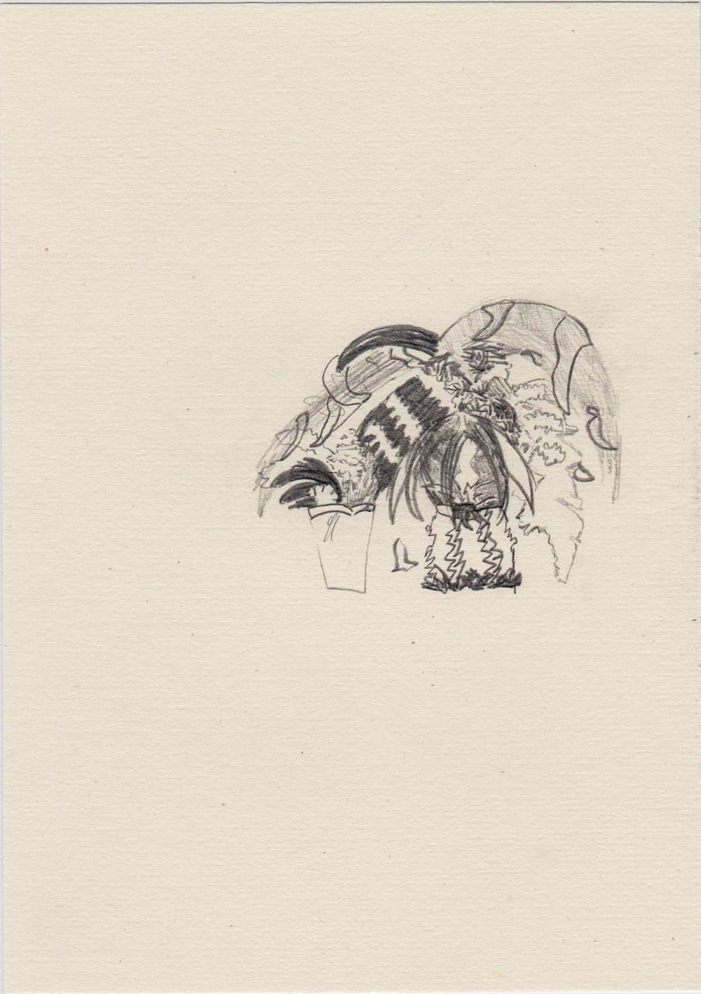 The garden of the mystic past, 2015; Pencil on paper; 20 x 14,5 cm