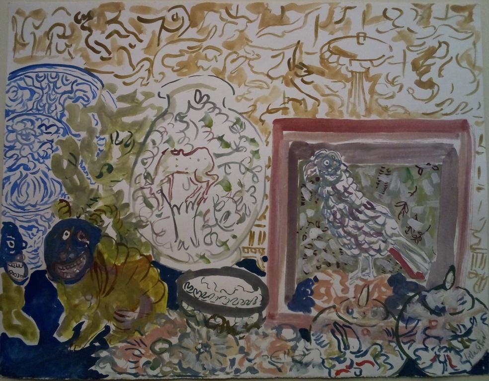 Viagem de 2 tigres, 2017; Gouache on paper; 33 x 40 cm