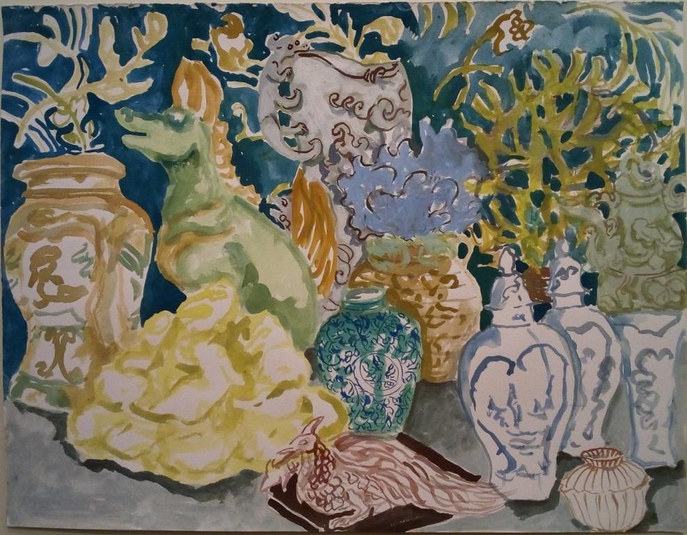 O armário azul das porcelanas, 2017; Gouache on paper; 33 x 40 cm