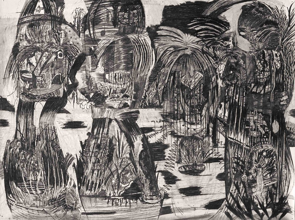 Primitive, 2017; Charcoal on paper; 150 x 200 cm